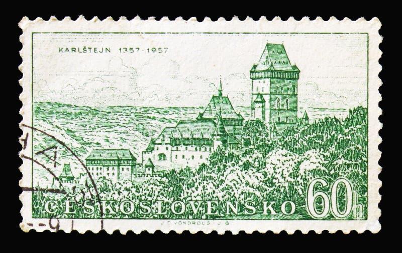 Karlstejn, Dziejowe rocznicy miasteczk i zabytków seria royalty ilustracja