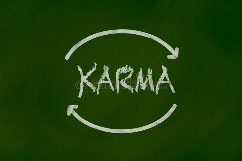 Karma Chalk teckning på den gröna svart tavlan royaltyfria foton