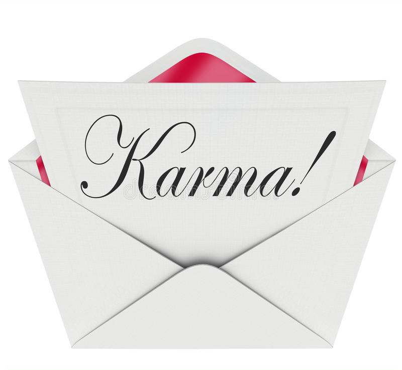 Karma Invitation Letter Message Open Envelope Good News Luck vector illustration