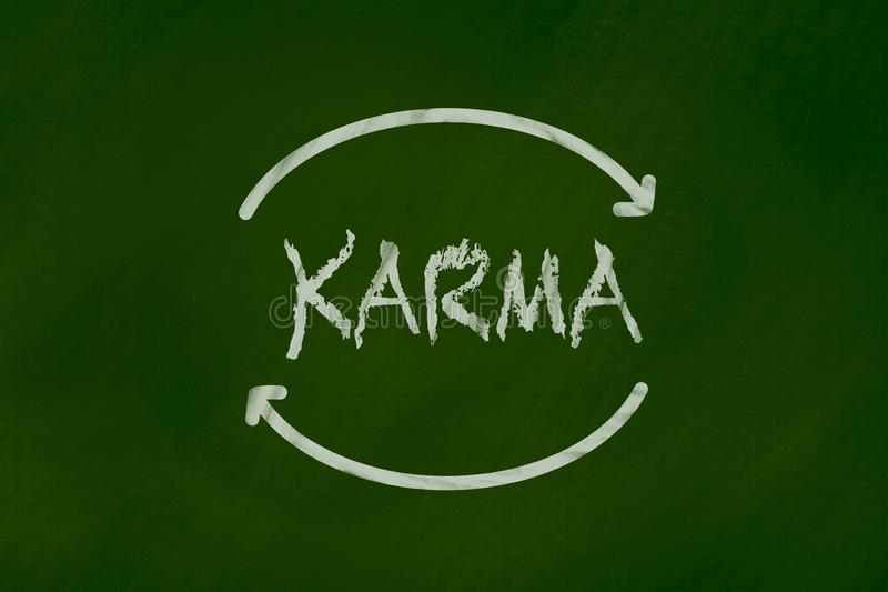 Karma Kredowy rysunek na zielonym chalkboard zdjęcia royalty free