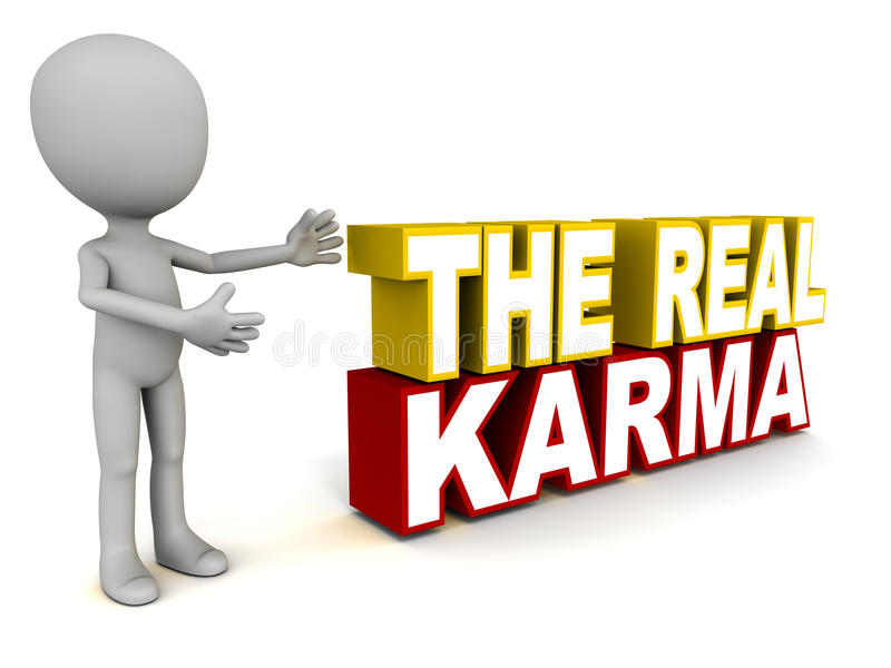 Karma. The real karma words, showing substantial deeds that drive a key spiritual or material purpose vector illustration