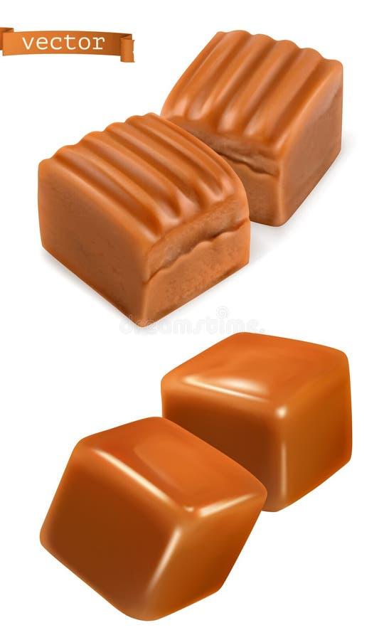 Karmel cukierków 3d wektor ilustracji