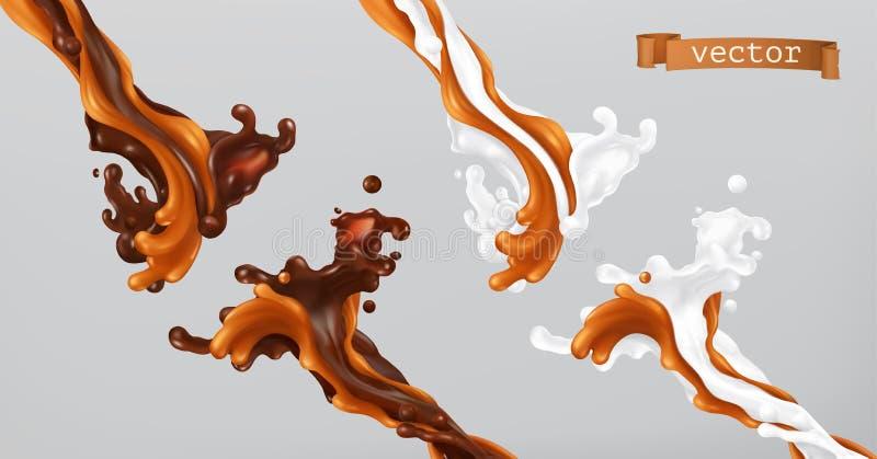 Karmel czekolada i mleko Pluśnięcia 3d wektor ilustracja wektor