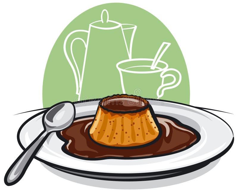 karmelu flan pudding ilustracji