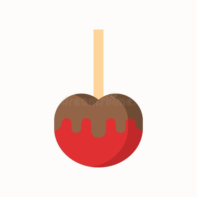 Karmelu jabłko, cukierki i ciasto set, płaska projekt ikona royalty ilustracja