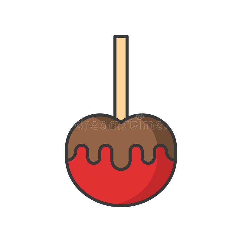 Karmelu jabłko cukierki i ciasto set, wypełniał kontur ikonę royalty ilustracja