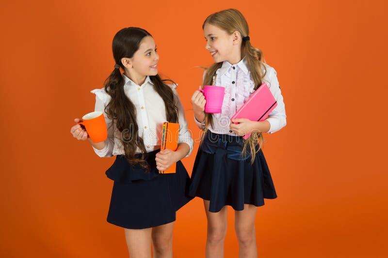 Karmiący dziecko i kształcący Małe dzieci pije ranku mleka lub herbaty Dzieci w wieku szkolnym ma śniadanie wewnątrz fotografia stock