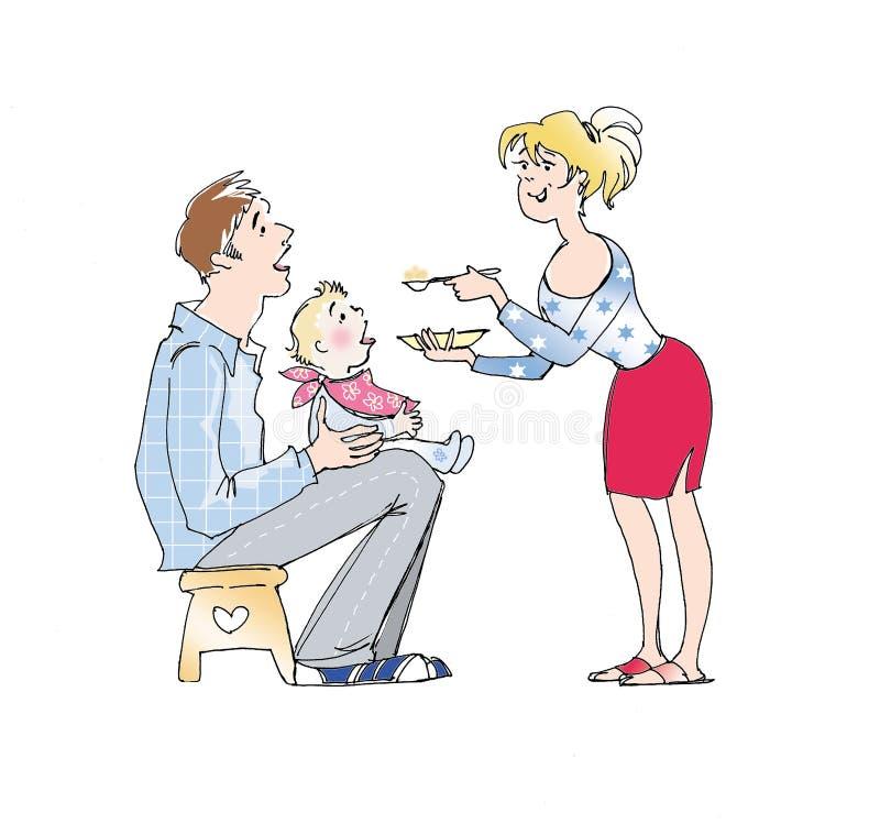 karmienie dziecka ilustracja wektor