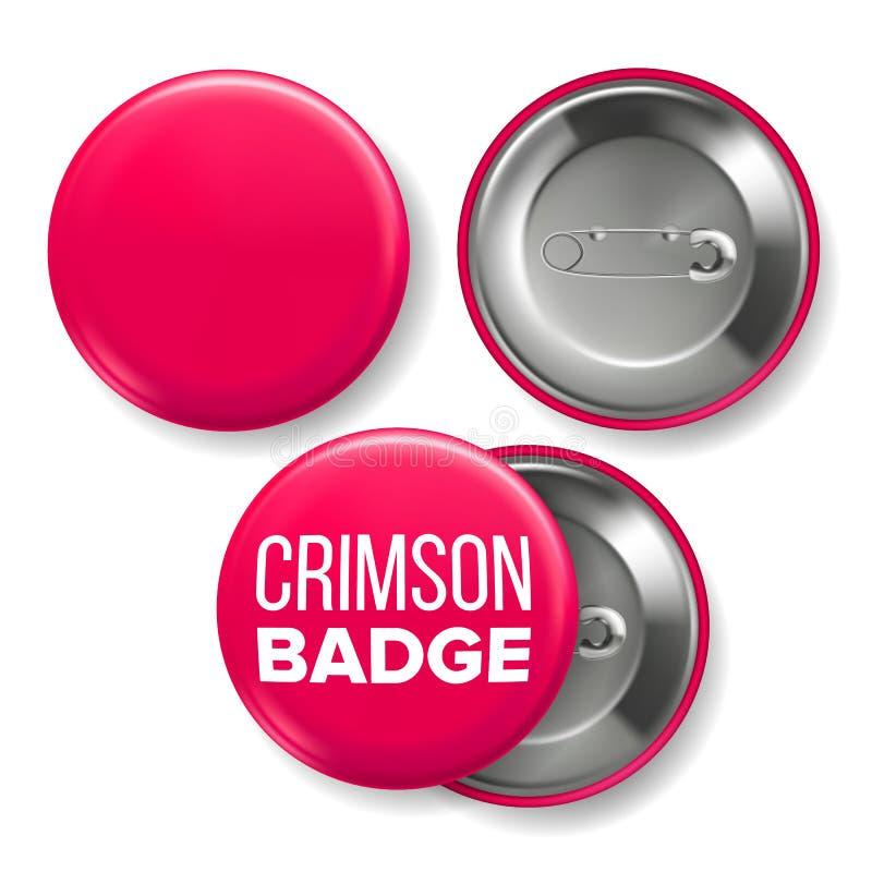 Karmosinröd emblemmodellvektor Pin Brooch Crimson Button Blank sidor två Framdel baksidasikt Brännmärka den realistiska designen  vektor illustrationer