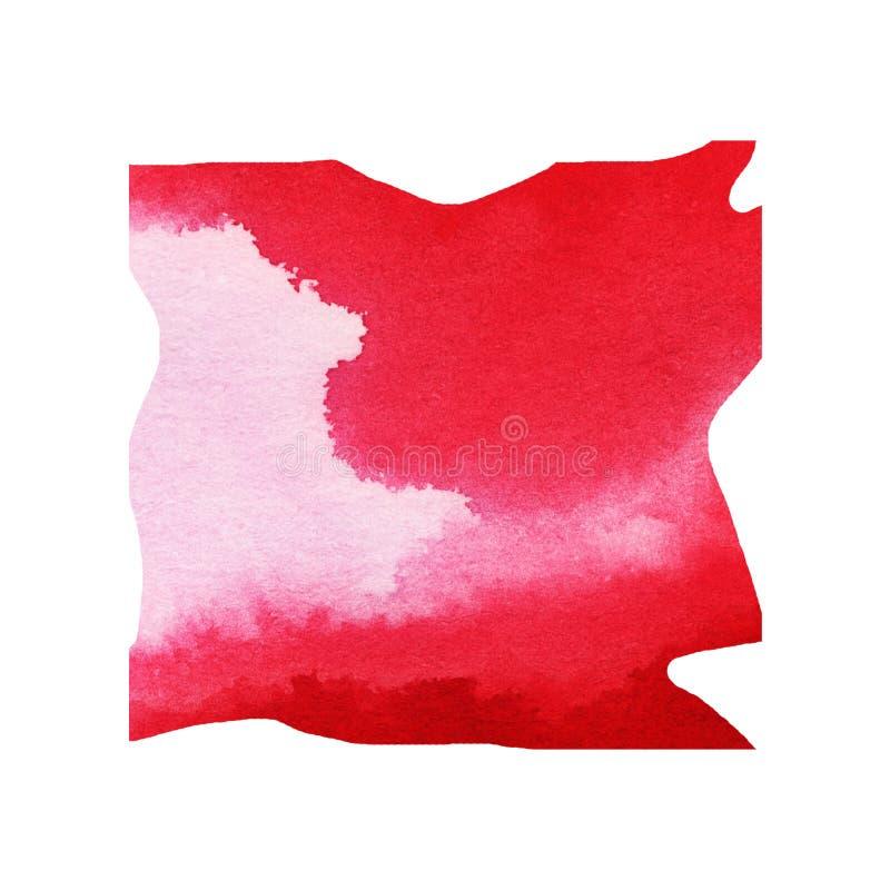 Karmosinröd röd vattenfärgfyrkant arkivfoto