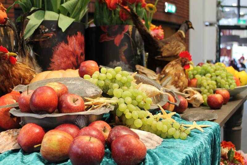 Karmowa dekoracja i owoc obraz stock