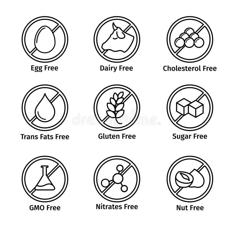 Karmowa dieta i GMO bezpłatne ikony ustawiać w kreskowym projekcie ilustracja wektor