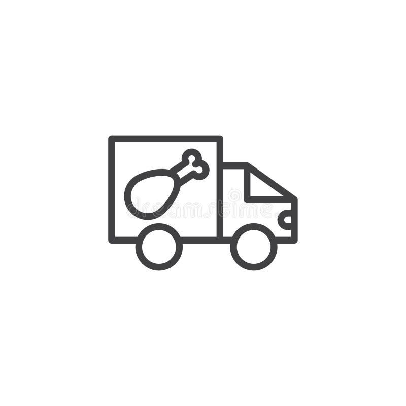Karmowa doręczeniowej ciężarówki linii ikona royalty ilustracja