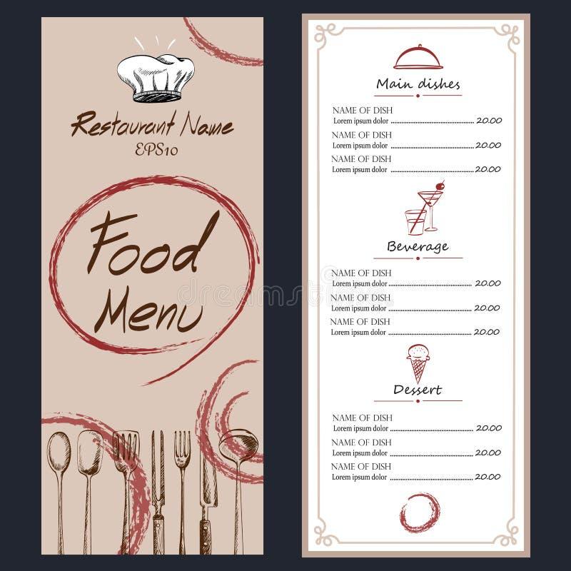 Karmowa menu kawiarni broszurka rysunkowy szablon obraz royalty free