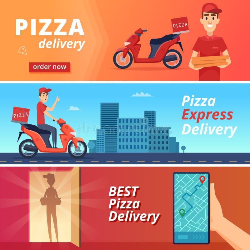 Karmowa pizzy dostawa Pocztowy kurier dostarcza mężczyzna przejażdżkę na roweru wektorowym charakterze w kreskówka stylu ilustracja wektor