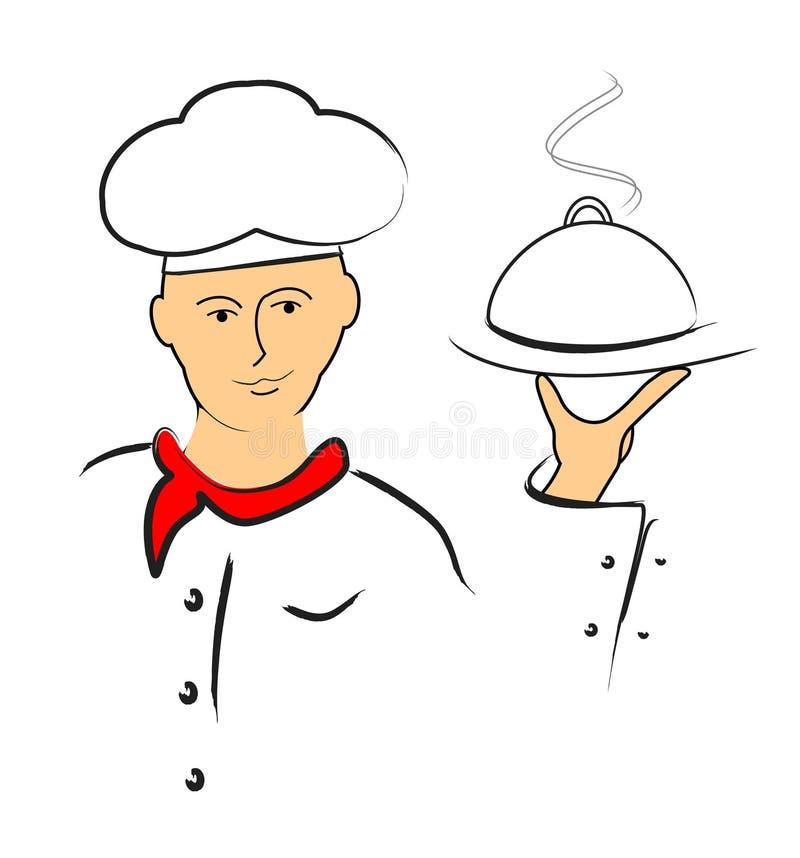 karmowa szef kuchni porcja royalty ilustracja