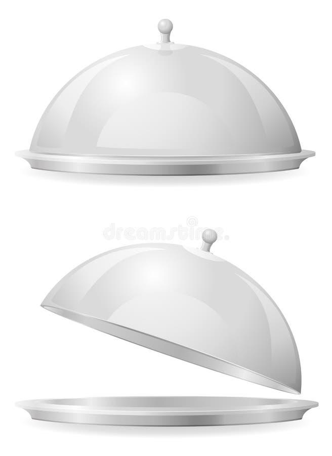Karmowa taca i dekiel dla restauraci ilustracja wektor