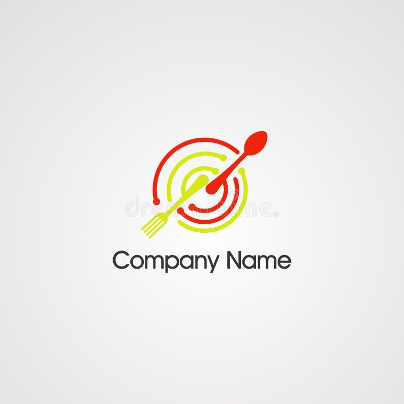 Karmowa technika z okr?gu logo cyfrowym wektorem, ikon?, elementem i szablonem dla firmy, royalty ilustracja