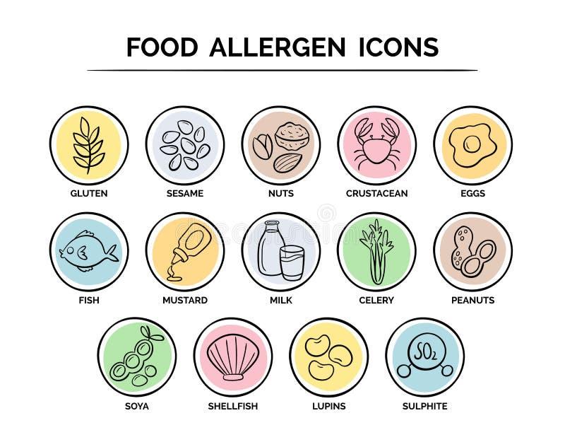 Karmowe allergen ikony ustawiać royalty ilustracja