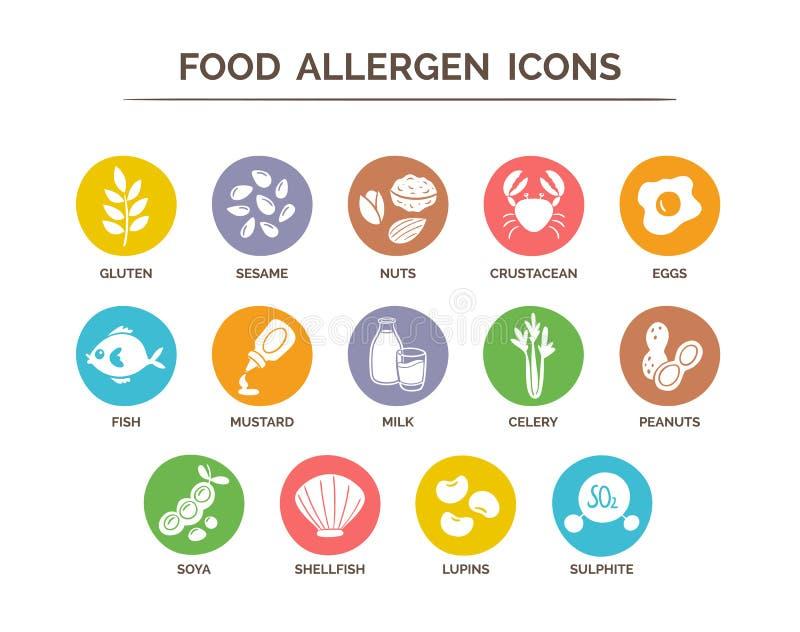 Karmowe allergen ikony ustawiać ilustracja wektor