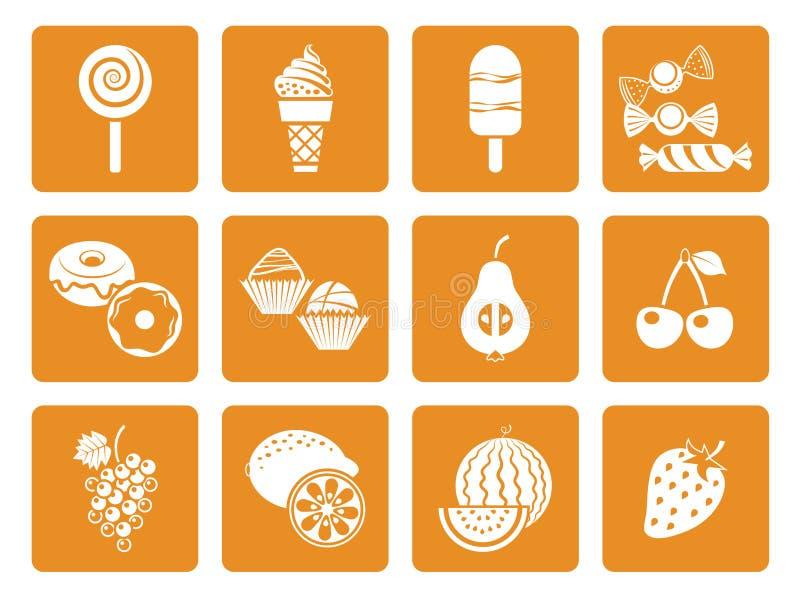 Karmowe deserowe ikony ilustracji