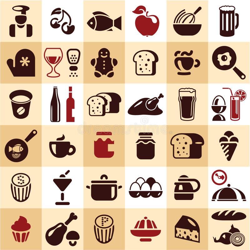 Karmowe ikony ilustracja wektor