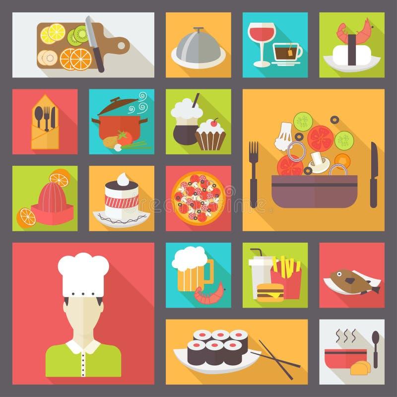 Karmowe ikony ustawiać dla gotować, restauracja, fast food royalty ilustracja