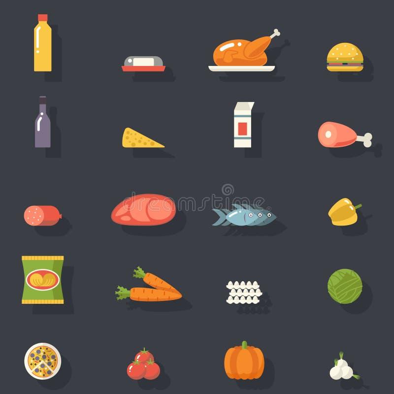 Karmowe ikony Ustawiający mięso ryba warzyw napoje dla royalty ilustracja