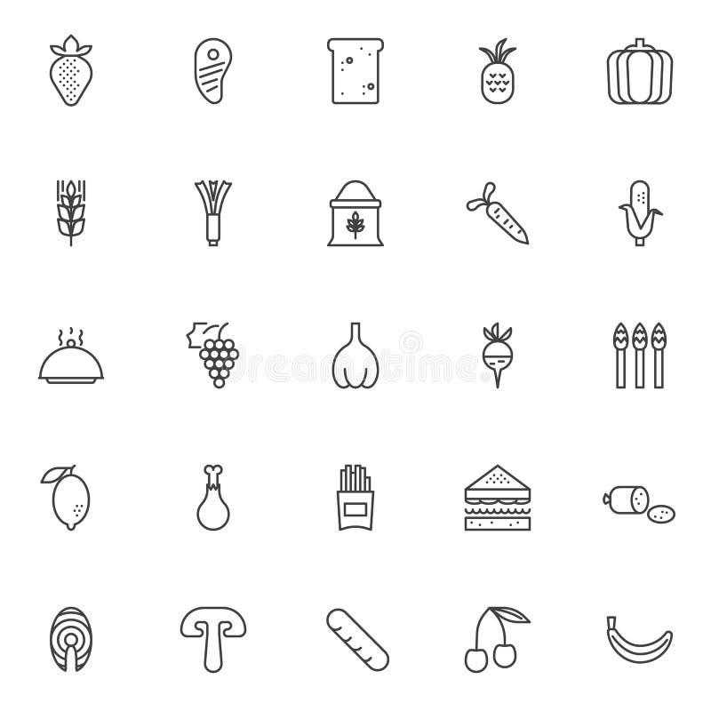 Karmowe kontur ikony ustawiać ilustracja wektor