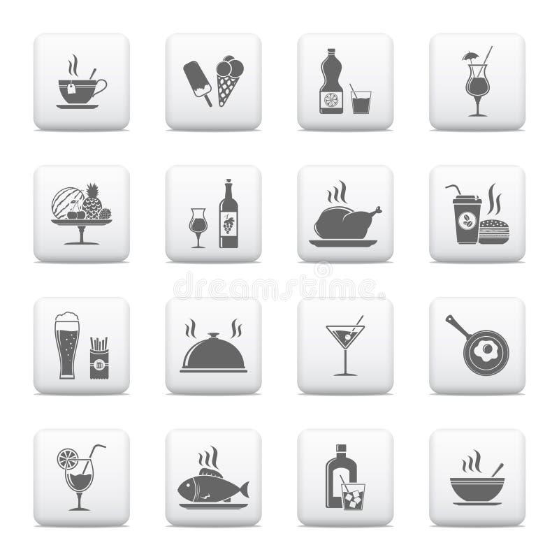 Karmowe a& napoju ikony ilustracja wektor