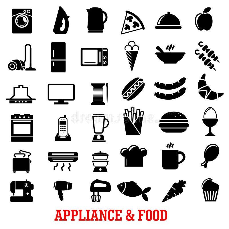 Karmowego i domowego urządzenia mieszkania ikony royalty ilustracja