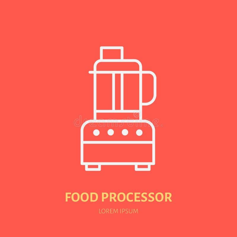 Karmowego procesoru mieszkania linii wektorowa ikona Kulinarnego wyposażenia liniowy logo Konturu symbol dla gospodarstw domowych ilustracji