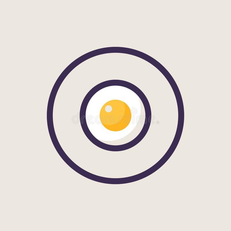 Karmowej ikony kreskowy styl Prosty element smażący jajko na talerzu royalty ilustracja