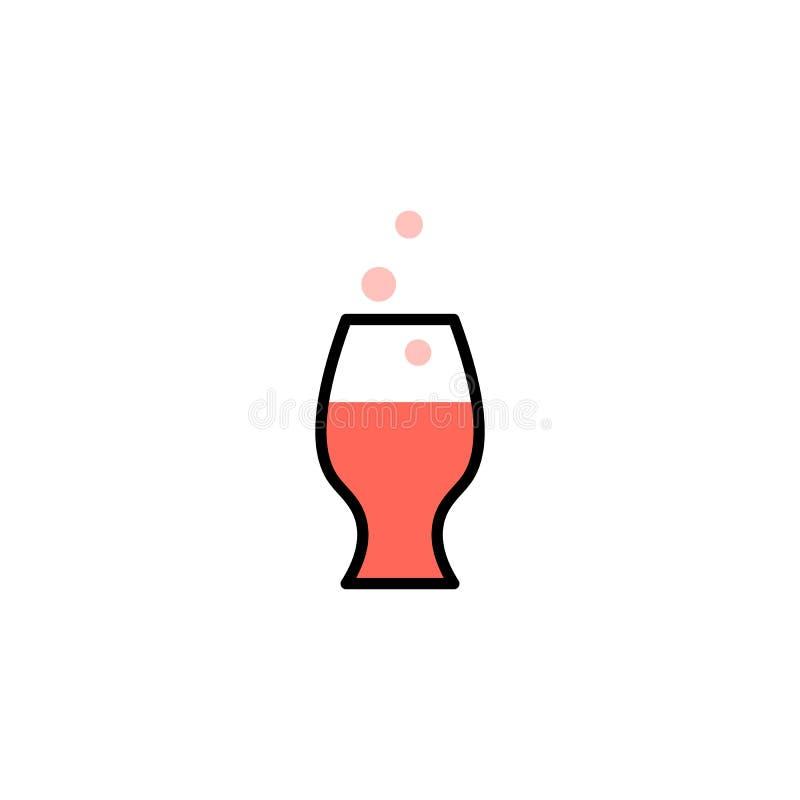 Karmowej ikony kreskowy styl Szkło wino i bąbel ilustracja wektor