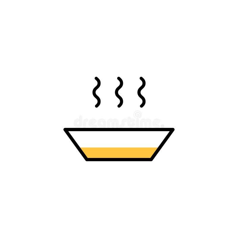 Karmowej ikony kreskowy styl Zarysowywa piktogram restauracja, kuchnia, dom Talerz z gorącym royalty ilustracja