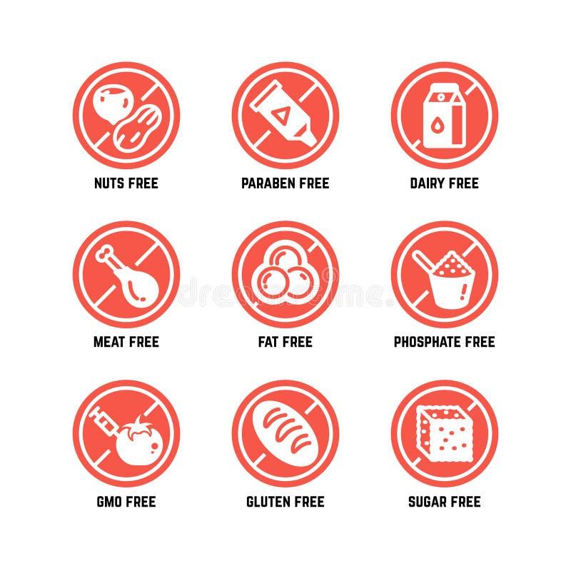 Karmowi żywienioniowi symbole Gmo uwalnia, żadny glutenu, sugarless i alergii wektorowe ikony ustawiać, ilustracja wektor