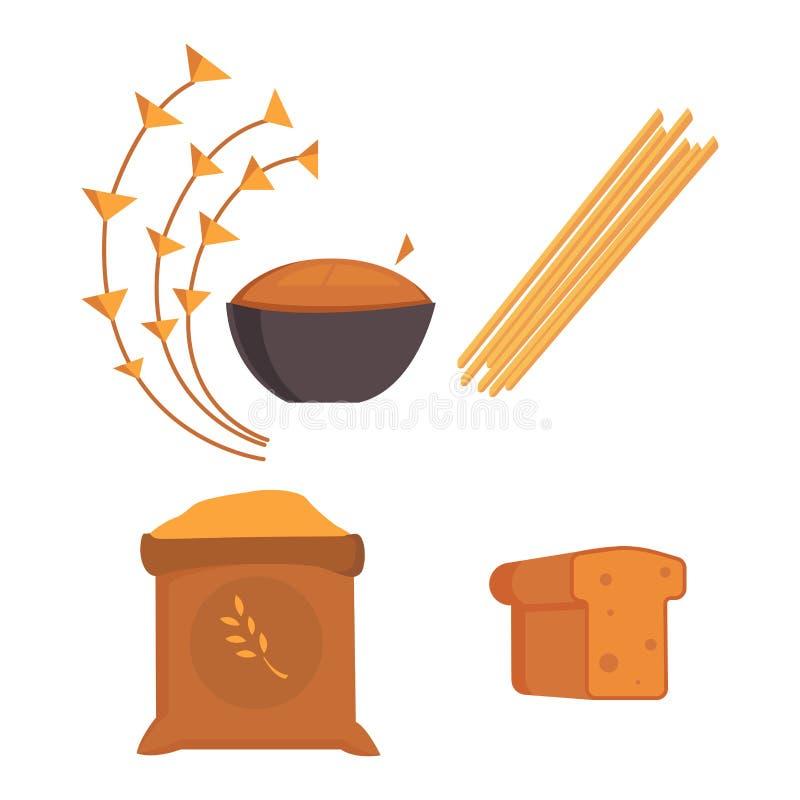 Karmowi carbs odizolowywali zdrowego składnika diety posiłku węglowodanu grupy odżywiania zdrowie superfood wektoru chlebową ilus ilustracji