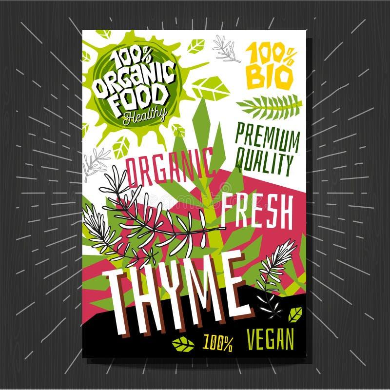 Karmowi etykietka majchery ustawiają kolorowe nakreślenie stylu owoc, pikantność warzyw pakunku projekt Macierzanka Jarzynowa ety ilustracji