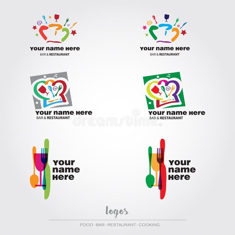 Karmowi i restauracyjni logowie royalty ilustracja