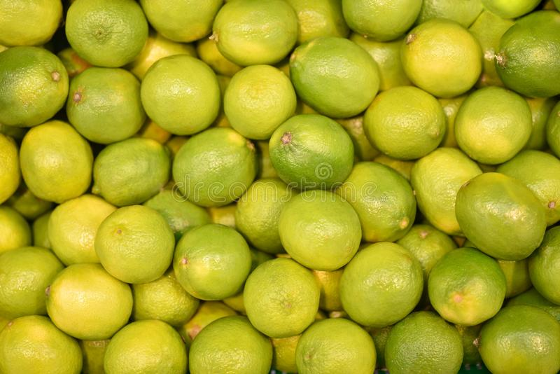 Karmowi owocowi świezi zieleni wapno, tło Świeży imes wzór dla sprzedaży w rynku Rolnictwo i owoc produkt Selekcyjna ostrość zdjęcie stock