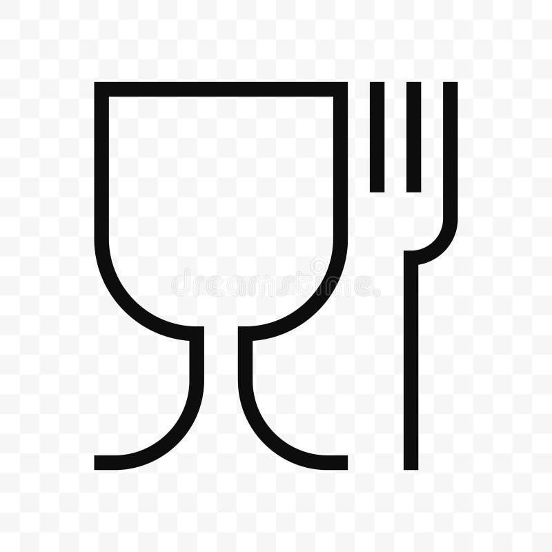 Karmowy bezpieczny materialny szkło i rozwidlenie Bezpieczeństwo żywnościowe stopnia wektoru ikona ilustracja wektor