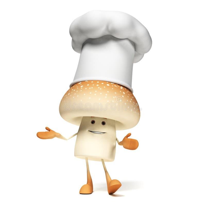 Download Karmowy Charakter - Pieczarka Ilustracji - Ilustracja złożonej z objurgate, kucharz: 28963086