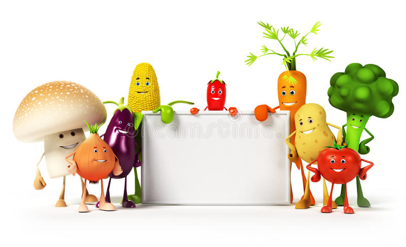 Karmowy charakter - warzywa ilustracja wektor