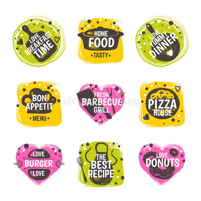 Karmowy doodle logo Cukierniana kulinarna odznaka, ręka rysujący restauracyjny menu etykietki szablon, bistro je lunch typografię ilustracja wektor