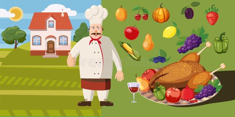 Karmowy horyzontalny sztandaru kucharz, kreskówka styl royalty ilustracja