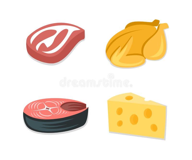 Karmowy ikona set, bekonowy stek, piec na grillu kurczak, rybi stek, plasterek ser Karmowy składnik, posiłek, mięso i nabiały, we ilustracji