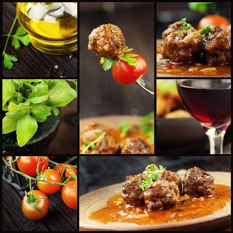 Karmowy kolaż - mięsne piłki zdjęcie royalty free