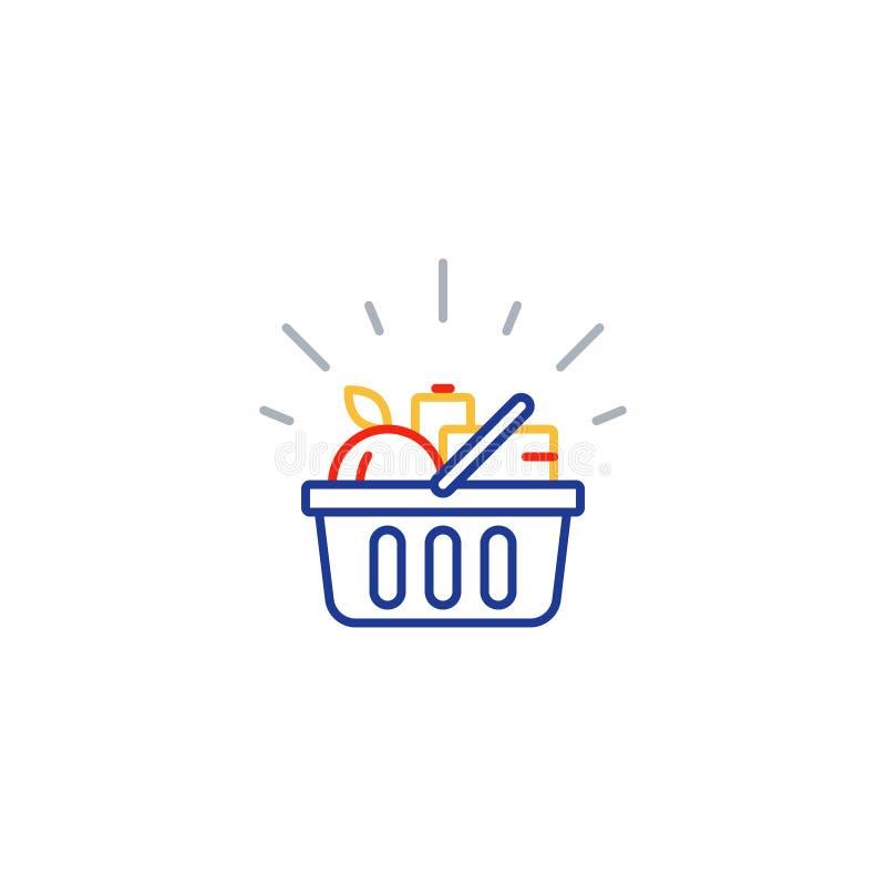 Karmowy kosz, sklepu spożywczego rozkaz, sklepowa specjalnej oferty linii ikona ilustracja wektor