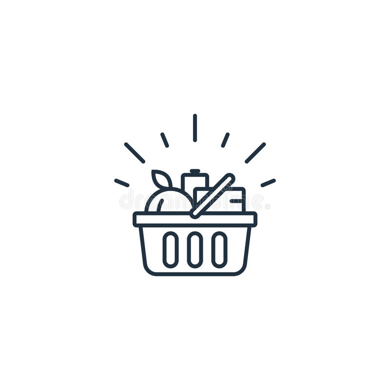 Karmowy kosz, sklepu spożywczego rozkaz, sklepowa specjalnej oferty linii ikona ilustracji