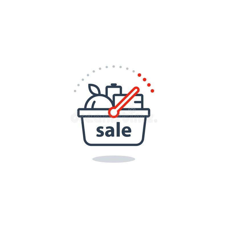 Karmowy kosz, sklepu spożywczego rozkaz, sklepowa sprzedaży specjalnej oferty linii ikona ilustracja wektor